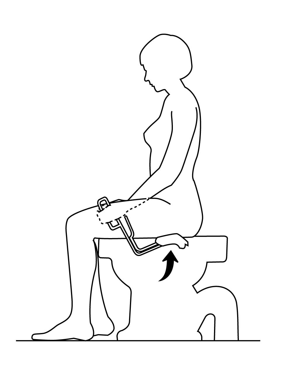 Etape 3 : placez la pince entre vos jambes
